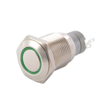 16mm Waterproof Metal Circle Latching Push Button Stainless Switch Green TE546