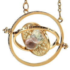 1pc Hourglass Harry Potter Time Turner Necklace Hermione Granger Rotating Spins Chain Choker (Intl)