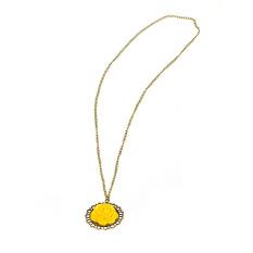 1pcs Fashion Vintage Style Yellow Rose Flower Sweater Pendant Long Necklace