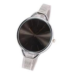 1pcs High Quality Brand Stainless Steel Strap Watches Women Dress Watch Ladies Quartz Wristwatch Silver&&black (Intl)