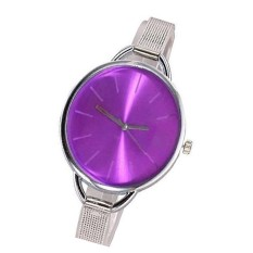 1pcs High Quality Brand Stainless Steel Strap Watches Women Dress Watch Ladies Quartz Wristwatch Silver&purple (Intl)