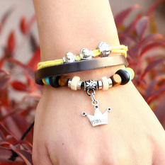 1pcs Multilayer Dangle Crown Bead Charm Synthetic PU Leather Rope Bracelet