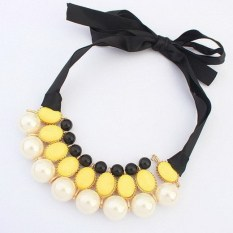 1pcs Women Luxury Sweet Pearl Ribbon Bib Choker Statement Collar Necklace Yellow