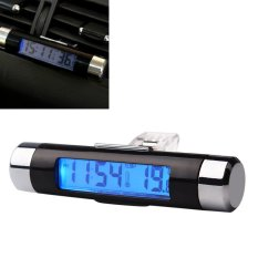 2-in-1 Biru lampu latar layar LCD portabel pameran termometer aksesoris otomotif mobil digital jam waktu Air Vent klip di outlet