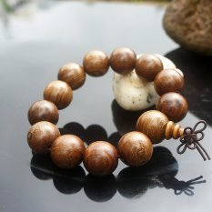 2 Pcs Chinoiserie Accessory Strand Bracelet Beads Of Yew Wood and Gold Sandalwood Polished with Natural Pattern