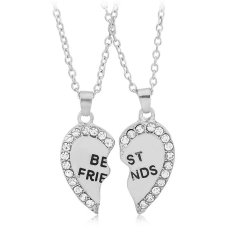 2 Pcs Friendship Fashion Jewelry Rhinestone Silver Alloy Broken Heart Best Friends Pendant Necklace Best Gift For Women (Intl)