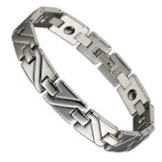 20.5 Cm Silver Plated Health Solid Germanium Hematite Stainless Steel Bracelet Bangle For Men - Intl