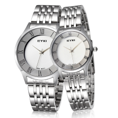 2015 New Fashion Steel Qaurtz Watches Women Men Dress Lovers Watches Roman Number Wristwatch (Silver White Women) (Intl)
