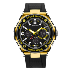 2016 Best Quality SANDA 733 Fashion Outdoor Sports Multifunctional Waterproof Electronic Watch (Gold)