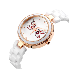 2016 High Quality TTLIFE Brand Women's Luxury Fashion Casual Quartz Ceramic Wristwatch Dragonfly Pattern (Red)
