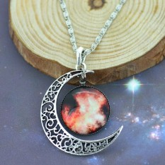 2016 Jewelry Fashion Moon Pattern Necklace Glass Galaxy Lovely Collares Necklace Star Night Pendants Necklace (Intl)