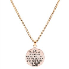 2016 Lettering Rose Gold Alloy Angel Round Charm Pendant Necklace Fashion Jewelry Best Gift For Family Link Chain (Intl)
