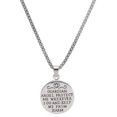 2016 Lettering Silver Alloy Angel Round Charm Pendant Necklace Women Fashion Jewelry Best Gift For Family Link Chain (Intl)