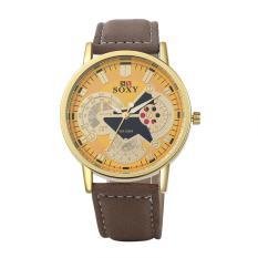 2016 New Male's Leisure PU Band Automatic Electric Wrist Watch Fashion Stainless Steel Metal Casual Round Erkek Kol Saati Fashion Collocation Wrist Watch - Intl