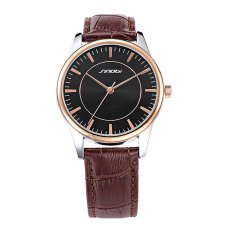 2016 New Sinobi Leather Fashion Watches Leisure Waterproof Quartz Wrist Watch Hot Sale For Male Female - Intl