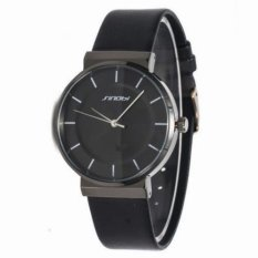2016 New Unisex Watches Luxury Brand Ultra-Thin Leather Strap Watch Quartz Analog Military Wristwatch (Black) (Intl)