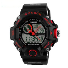2016 Quartz Digital Camo Watch Men Dual Time Man Sports Watches Men Skmei S Shock Military Army Reloj Hombre LED Wristwatches (Red)