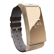 2016 Smart Bracelet Watch + Bluetooth headset Heart Rate Monitor Bluetooth Wristwatch Wearable Devices For iPhone Samsung (Gold) - Intl