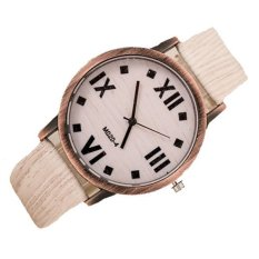 2016 Top Brand Men's Bamboo Wooden Bamboo Watch Quartz Real Leather Strap Men Watches Good Gift For Boyfriends (White)