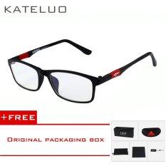2017 KATELUO baru baca komputer merek kacamata wanita Kacamata Pria kacamata radiasi ultra violet Kelelahan miopia bingkai Hitam putih bule 13022 (Hitam) [membeli 1 mendapatkan 1 hadiah]