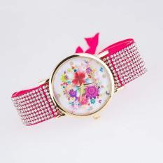 2pcs * Aliexpress hot fashion diamond table cloth leather watch manufacturers spot lady Geneva flowers10- coffee - intl