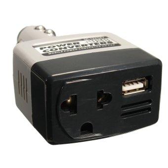 2 Buah DC 12/Arus AC 220 V Inverter Daya Konverter Adaptor Charger Mobil + USB Outlet Baru- Internasional