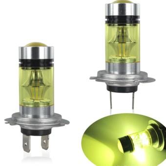 2PCS H7 2835 LED 100W Fog Driving Light High Power Auto Car HID Yellow Light DRL