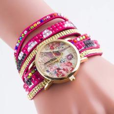 2pcs * Manufacturers selling Fashion Ladies Bracelet Watch Geneva diamond lovers watches Korea velvet multilayer10- red - intl