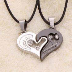 2Pcs Men Women Lover Couple Necklace I Love You Heart Shape Pendant Chain Jewel Black White