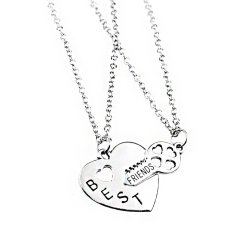 2pcs Silver Alloy Heart and Key Friendship Charm Pendant Necklace Fashion Jewelry Gift For Best Friends Adjystable (Intl)