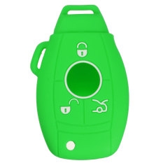3/4 Button Silicone Remote Key Cover Holder Case Fob For MERCEDES BENZ 35.550 Green