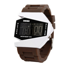 360DSC Skmei 0817B Unisex Military Fighter Style Digital LED Display Colorful Light 5 ATM Water Resistant Wrist Watch