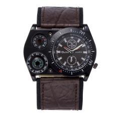360WISH Oulm HP4094 untuk pria dengan dial bulat besar jam tangan kulit kuarsa analog dengan termometer
