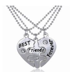 3PCs / Set Best Friends Forever Heart Friendship Pendant Choker Necklace Chain (Intl)