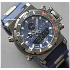 5.11 Tacticas Dual Time Jam Tangan Pria - Stainless Steel Blue