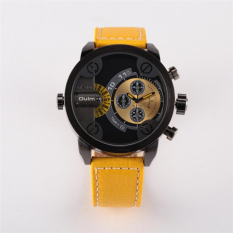 5cm Oversized Dial For Big Wrist Design Brand OULM 3130 Mens Leather Watches Montre Homme Marque Male Relogio Masculino Original (Yellow)