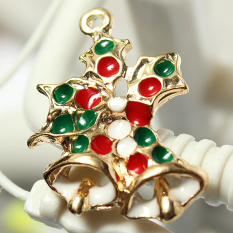 5pcs Gold Enamel Christmas Xmas Gifts Snowflake Charm Pendants Jewelry Findings Double Bell - Intl