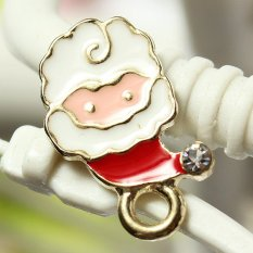 5pcs Gold Enamel Christmas Xmas Gifts Snowflake Charm Pendants Jewelry Findings Small Santa Claus - INTL