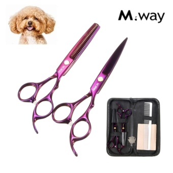 6 inch M.Way Pro Pet Dog Cat Grooming Hair Cutting Thinning Scissor Shear Kit - intl
