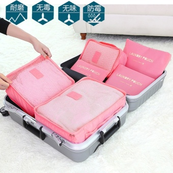 6 PCS Travel Storage Bag Set For Clothes Tidy Organizer Wardrobe Suitcase Pouch Travel Organizer Bag Case Shoes Packing Cube Bag (Green) - intl