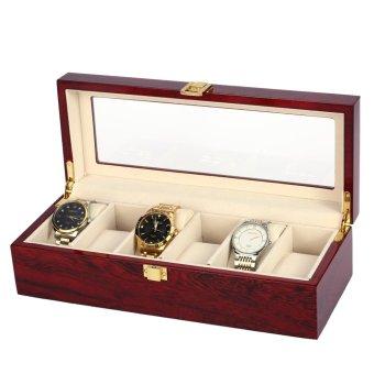 6 slot kotak tampilan jam tangan mulia Piano pernis jam tangan penyelenggara penyimpanan perhiasan aksesoris -