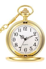 604713 Vintage Retro Style Face Dial Pocket Watch with Necklace (Gold)
