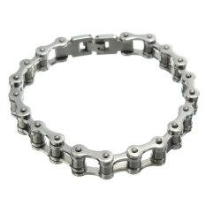 """8.5"""" Men Stainless Steel Heavy Silver Motorcycle Bike Chain Bracelet Decor - Intl"""