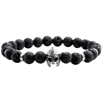 8mm Lava Rock Stone Ball Beads Sparta Helmet Charm Stretch Energy Bracelet (Black + Silver) - Intl