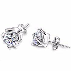 925 Silver Men & Women Unisex Cubic Zircon Earrings Simple Shiny Cyclone Flower Studs Earring with Gift Box(White) - intl