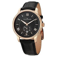 Alexander Statesman Regalia Wrist Watch For Men - Black Leather Analog Swiss Watch - Stainless Steel Plated Rose Gold Watch - Black Dial Date Small Seconds Mens Designer Watch A102-04 (Intl) - Intl