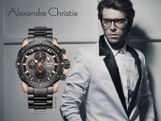 Alexandre Christie 6410 Rose Gold - Jam Tangan Pria - Tali Rantai - Hitam Rose Gold