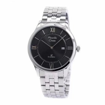 Alexandre Christie 8503 - Jam Tangan Pria - AC 8503 - Silver Plat Black - Stainless Steel - Anti Air (Silver)