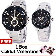 Alexandre Christie Jam Tangan Couple- Alexandre Christie 6305MC - Stainless Steel - Hitam + Gratis Box Cokelat Valentine