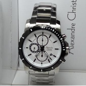 Alexandre Christie Jam Tangan Pria Alexandre Christie AC6141MC Chronograph Silver Stainless Steel Dial White